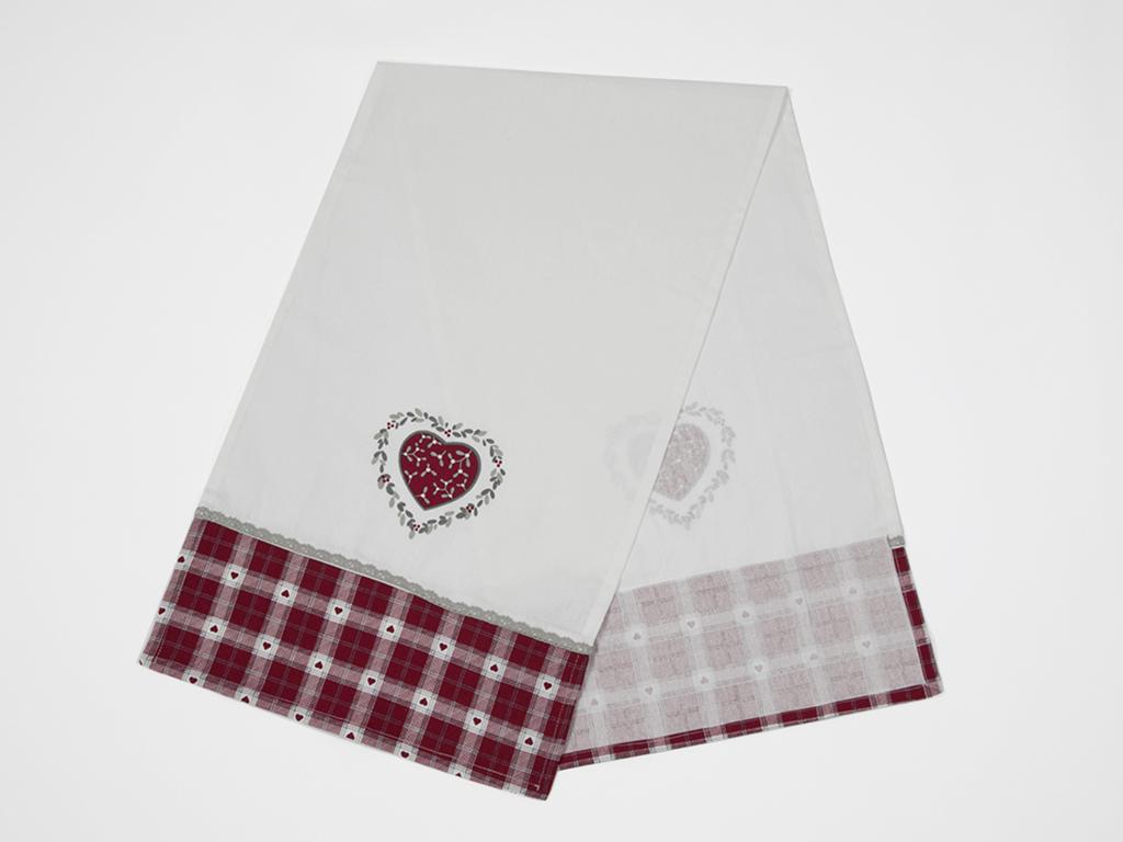 Loving Pamuklu Mutfak Runnerı 40x140 Cm Beyaz - Kırmızı
