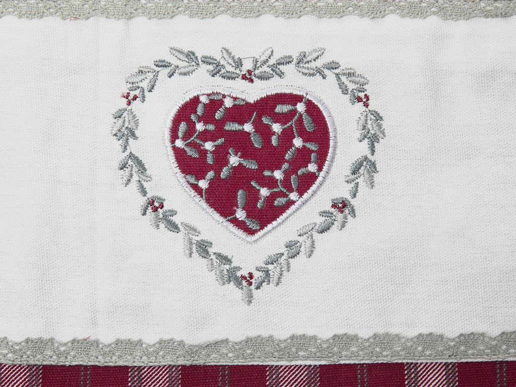 Loving Pamuklu Mutfak Kırlent Kılıfıi 30x50 Cm Beyaz - Kırmızı