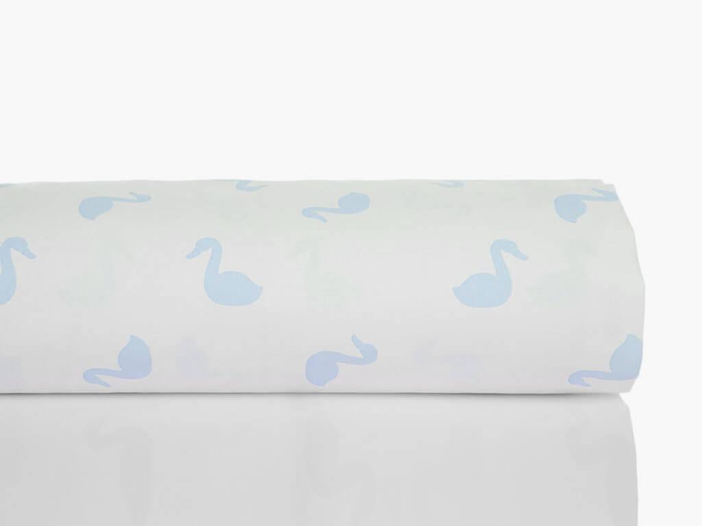 Swan Pamuklu Bebe Nevresim 100x150 Cm Mavi