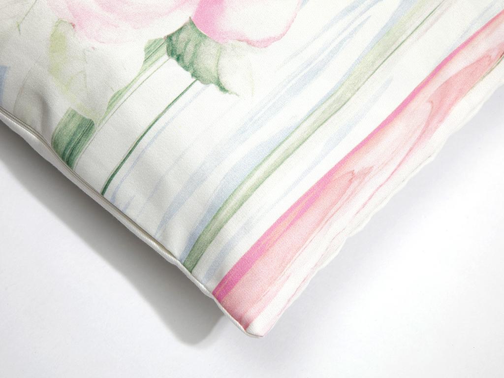 Rose Bed Dijital Baskı İç Dolgulu Kırlent 40x40 Cm Açık Mavi