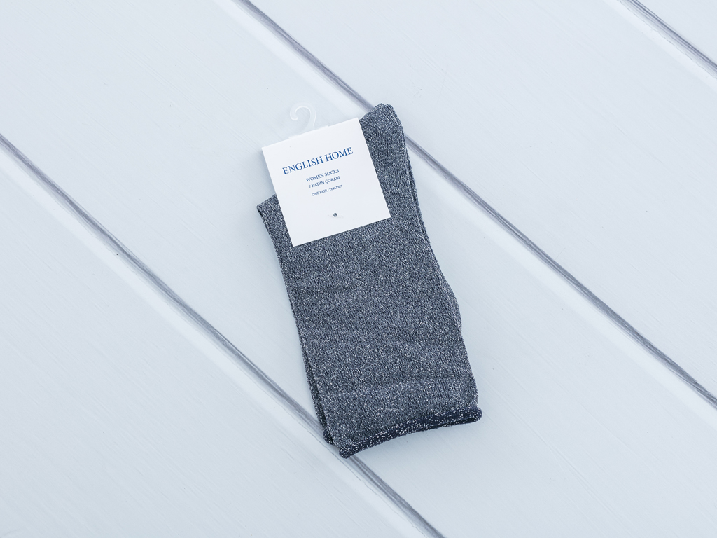 Simli Polyamid Bayan Soket Çorap 35-39 Antrasit