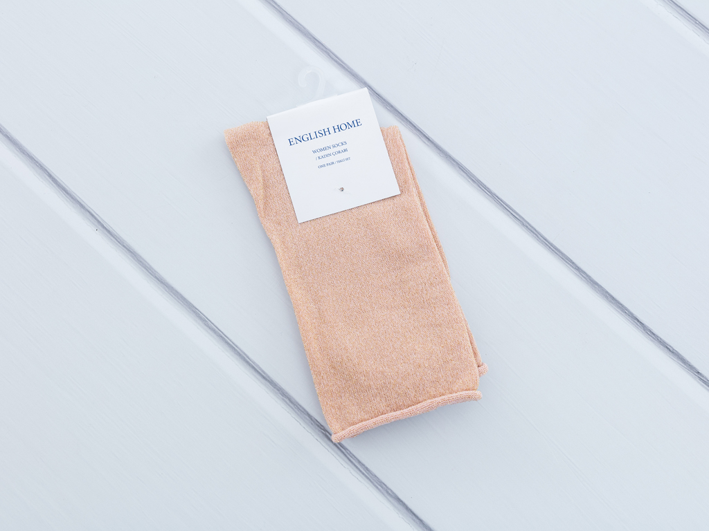 Simli Polyamid Bayan Soket Çorap 35-39 Pudra Pembe