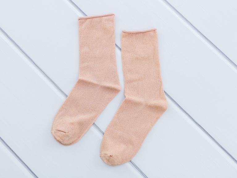 Simli Kadın Soket Çorap 35-39 Pudra Pembe