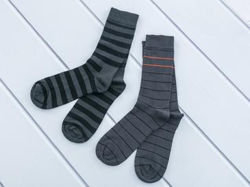 Çizgili Pamuk 2'li Set Çorap 40-44 Gri
