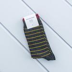 Çizgili Pamuk 2'li Set Çorap 40-44 Koyu Gri