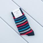 Çizgili Pamuk Erkek Soket Çorap Çorap 40-44 Kırmızı - Mavi