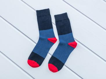 Çizgili Pamuk Erkek Soket Çorap Çorap 40-44 Mavi – Lacivert - Gri