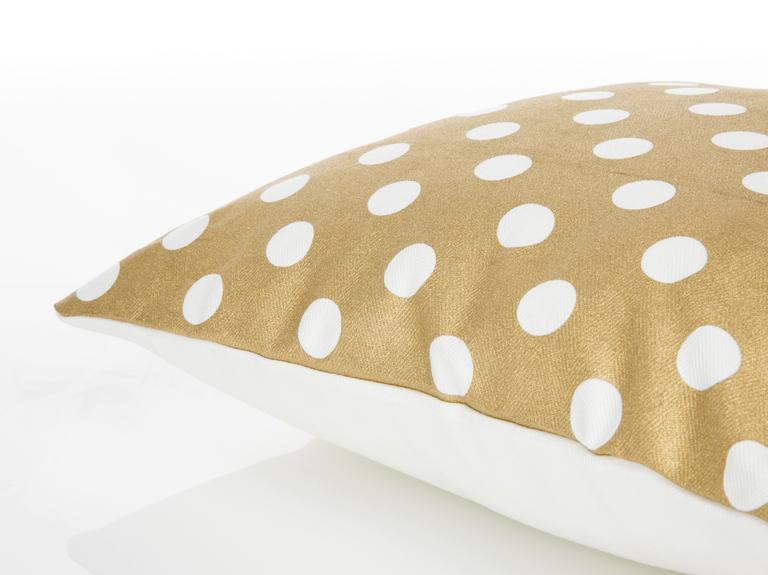Honeycomb Baskılı Kırlent Kılıfı 40x40 Cm Beyaz- Altın
