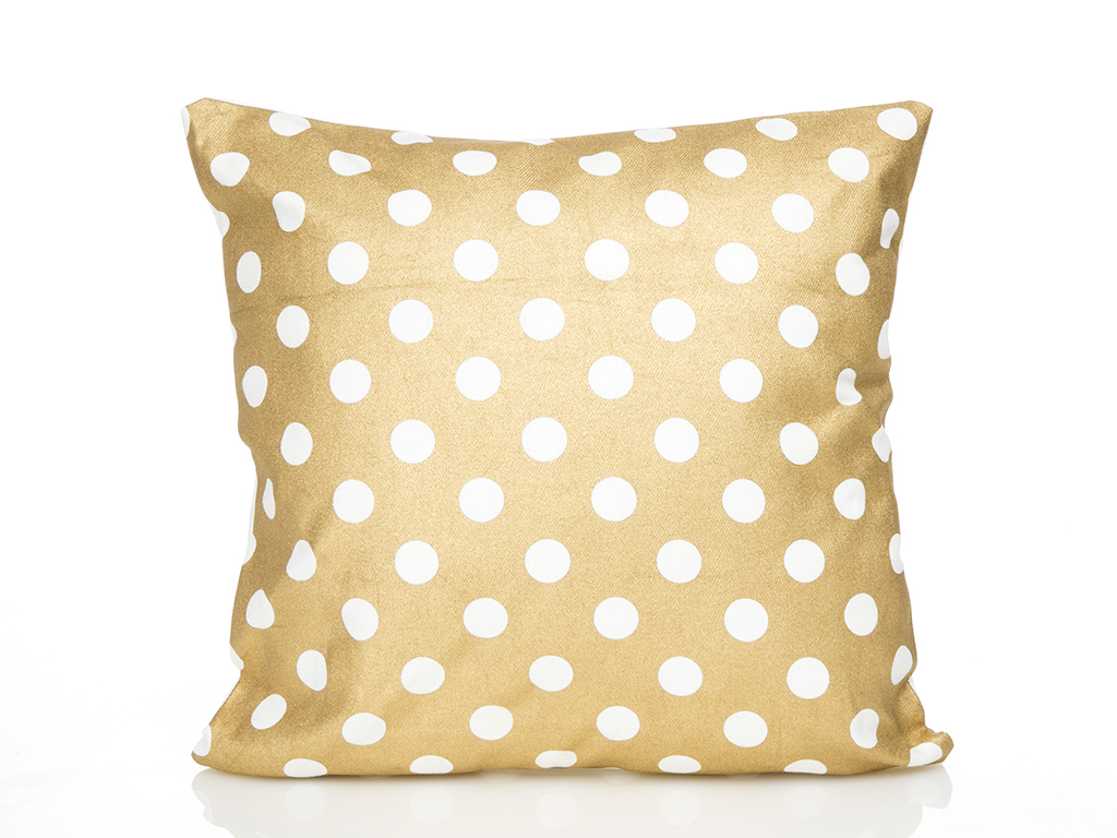 Honeycomb Baskılı Kırlent 40x40 Cm Beyaz- Altın