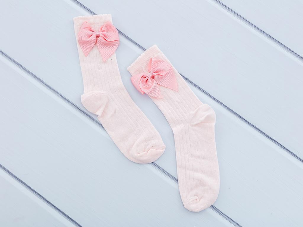 Kurdeleli Kız Soket Çocuk Çorap 2-4 Yaş Pembe