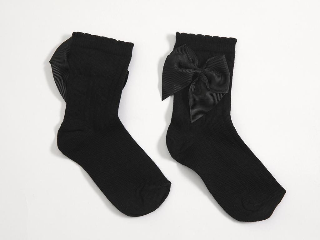 Kurdeleli Kız Soket Çocuk Çorap 5-7 Yaş Siyah