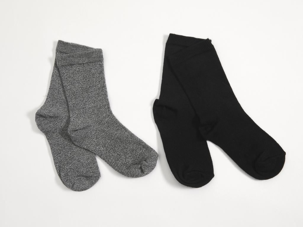 Çizgili 2'li Set Çocuk Çorap 2-4 Yaş Gri