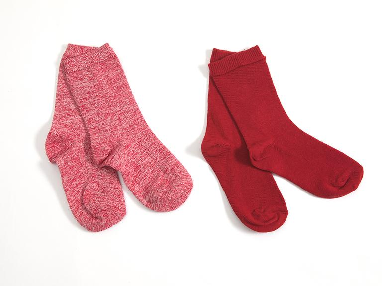 Çizgili 2'li Set Çocuk Çorap 5-7 Yaş Kırmızı