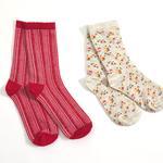 Çizgili 2'li Set Çocuk Çorap 2-4 Yaş Kırmızı - Krem