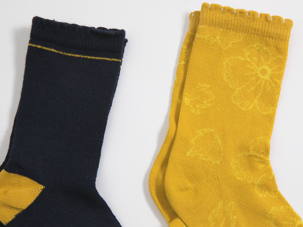 Çizgili 2'li Set Çocuk Çorap 5-7 Yaş Sarı - Mavi