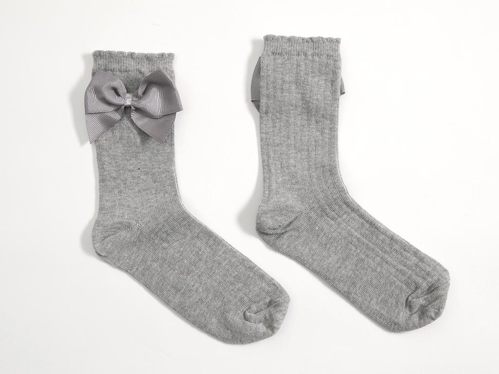 Kurdeleli Kız Soket Çocuk Çorap 2-4 Yaş Gri