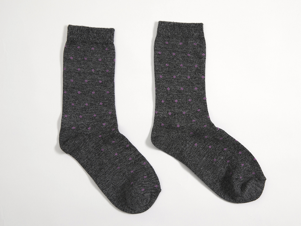 Puantiye Pamuklu Bayan Soket Çorap 35-39 Gri