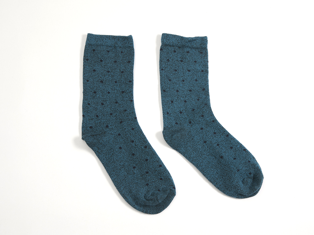 Puantiye Pamuklu Bayan Soket Çorap 35-39 Mavi