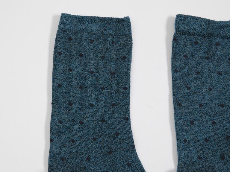 Puantiye Pamuklu Kadın Soket Çorap 35-39 Mavi
