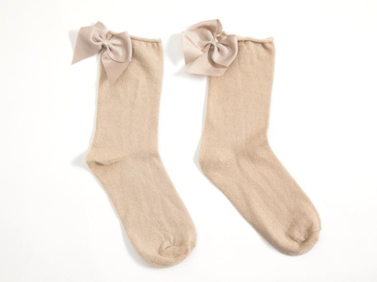 Kurdeleli Simli Bayan Soket Çorap 35-39 Gold