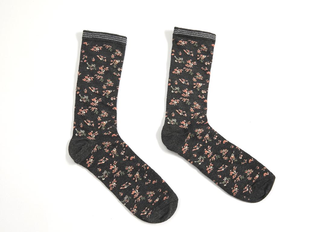 Summer Blossom Pamuklu Bayan Soket Çorap 35-39 Siyah