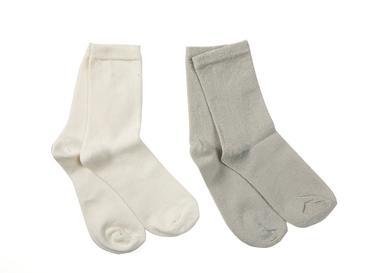 Simli 2'li Çocuk Çorap 2-4 Yaş Ekru
