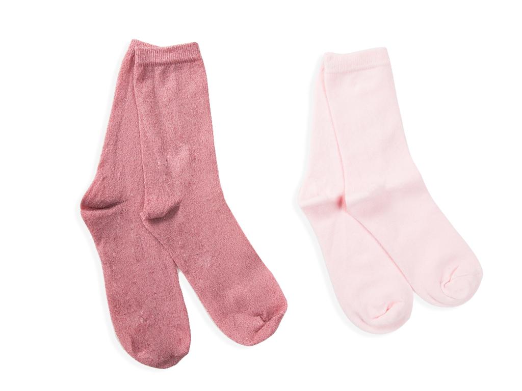Simli 2'li Çocuk Çorap 5-7 Yaş Pembe
