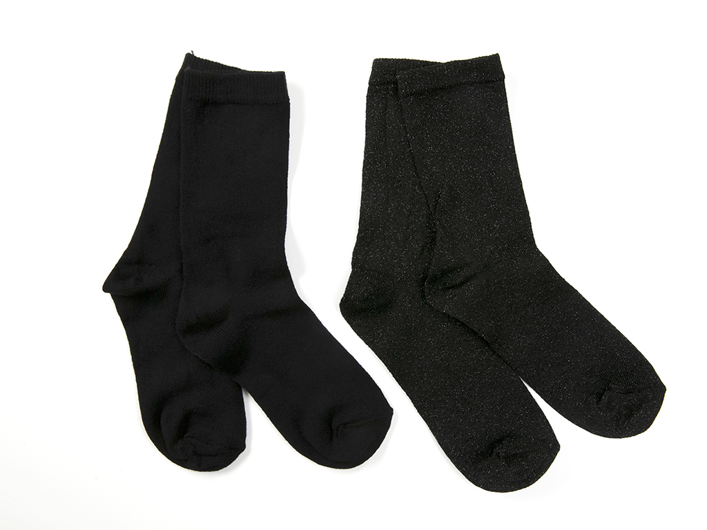 Simli 2'li Çocuk Çorap 5-7 Yaş Sıyah