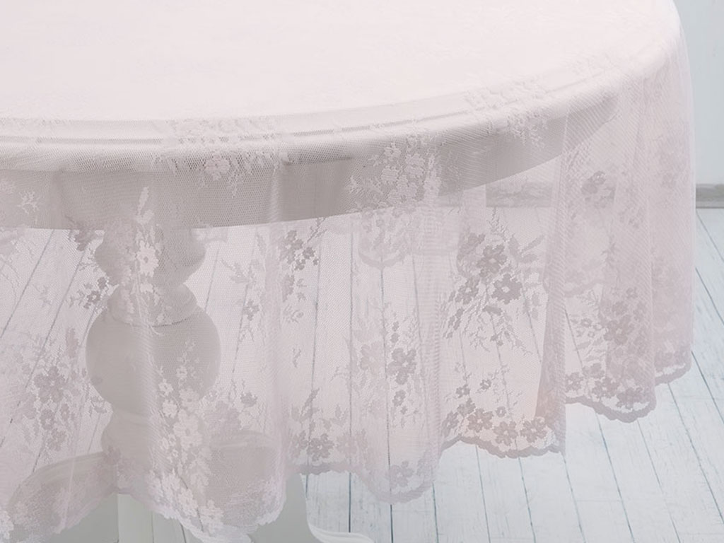 Cherry Blossom Örme Masa Örtüsü 180 Cm Pembe