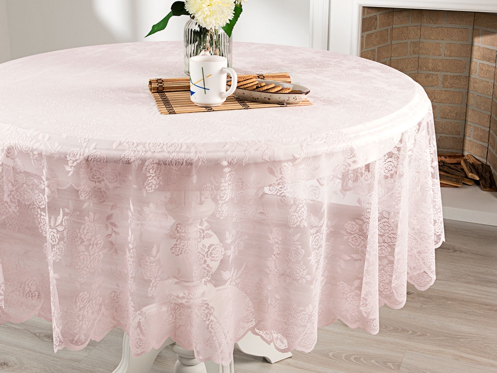Rose Scroll Örme Masa Örtüsü 180 Cm Pembe