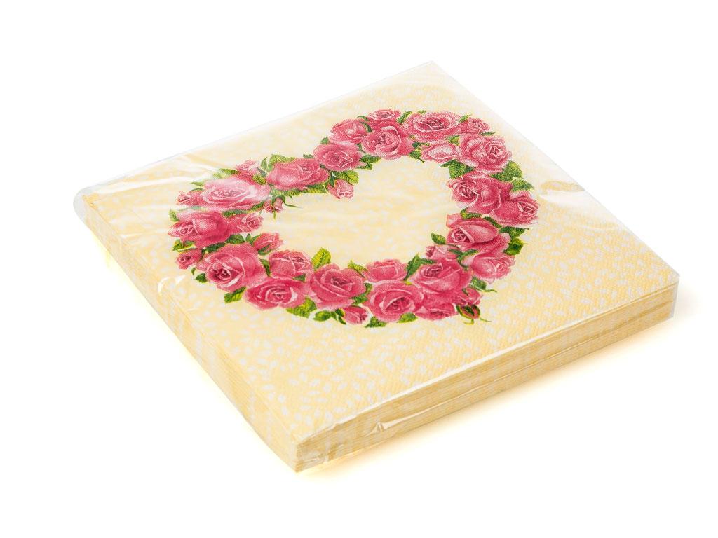 Heart Kağıt Kağıt Peçete 33x33 Cm Krem