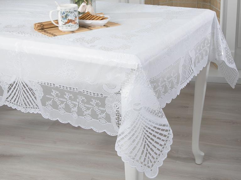 Daisy Vinil Dikdörtgen Masa Örtüsü 137x182 Cm Beyaz