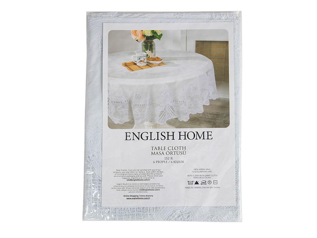 Daisy Vinil Yuvarlak Masa Örtüsü 152 Cm Beyaz