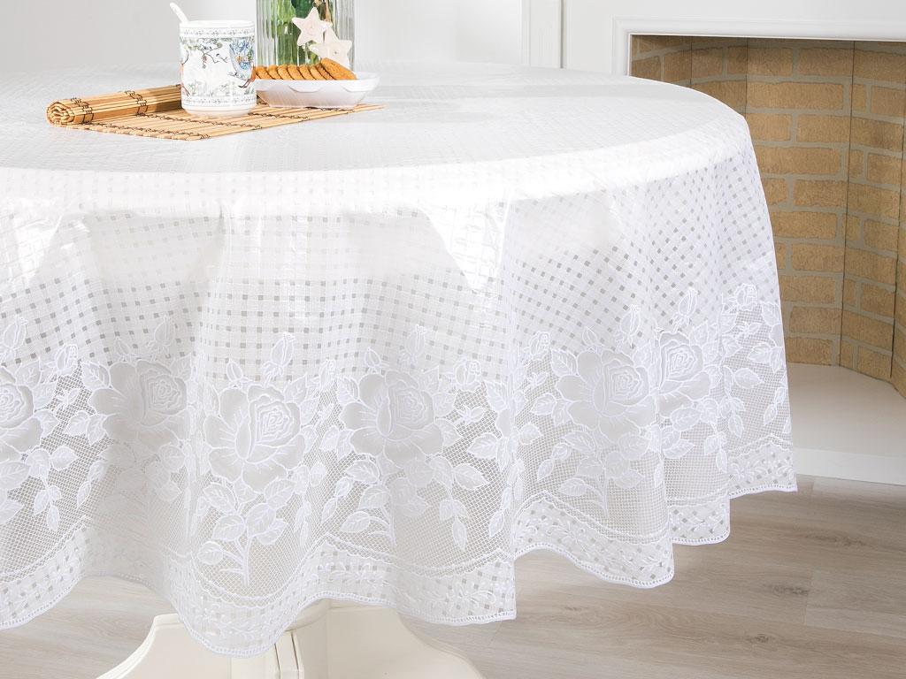 Rosy Vinil Yuvarlak Masa Örtüsü 137 R Beyaz