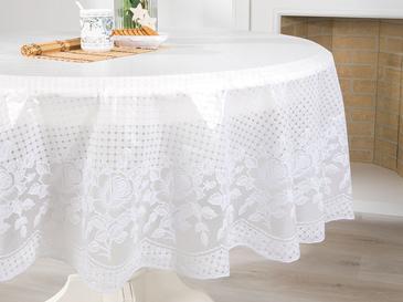 Rosy Vinil Yuvarlak Masa Örtüsü 178 R Beyaz
