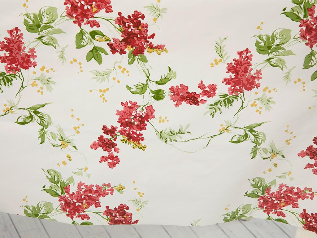 Ivy Lilac Pvc Masa Örtüsü 140 Cm Beyaz - Pembe