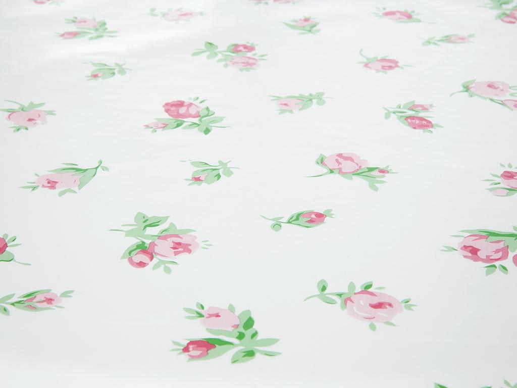 Falling Roses Pvc Masa Örtüsü 140 Cm Pembe - Beyaz