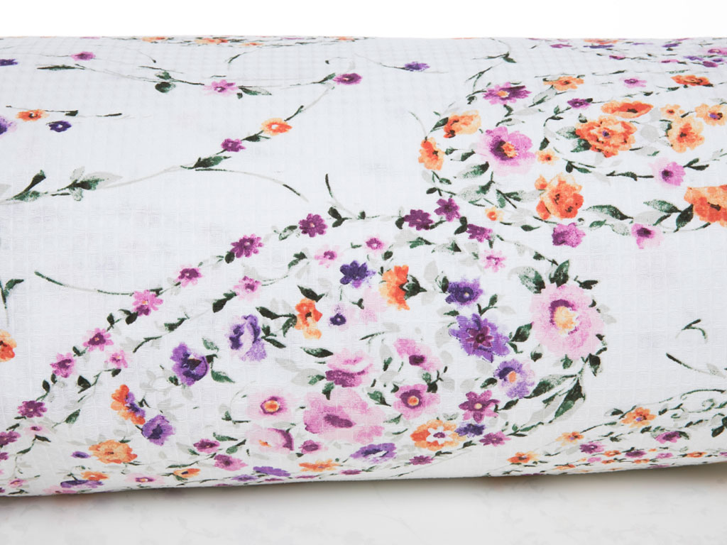 Flower Paisley Pamuk Saten Tek Kişilik Nevresım 160x220 Cm Lila