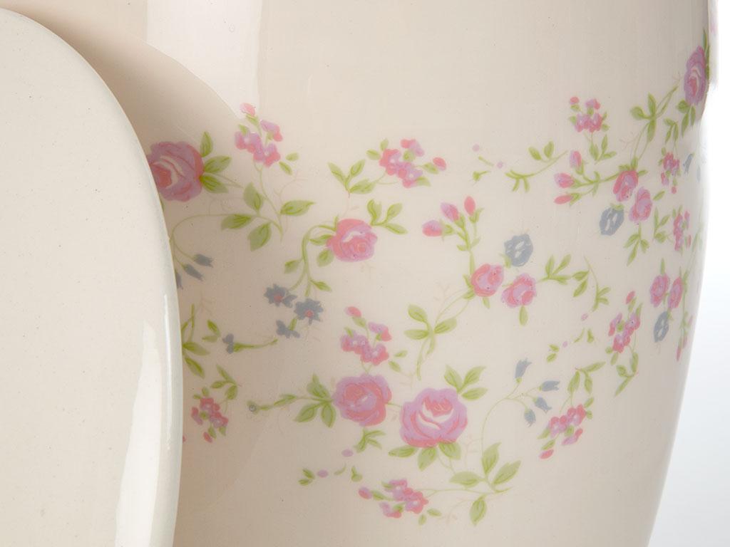 Cherry Blossom Seramik Banyo Çöp Kovası 28x22 Cm Beyaz - Pembe