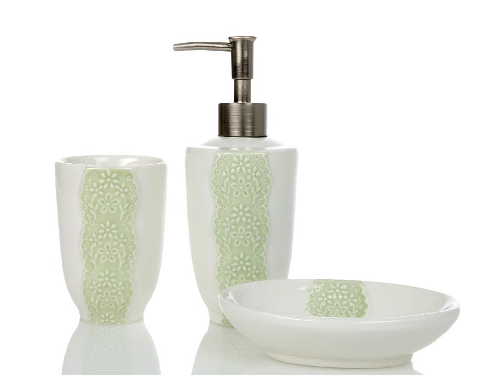 Carpe Diem Seramik 3'lü Banyo Setı 7,5x7,5x19-7,5x7,5x10,7-14x10 Yeşil