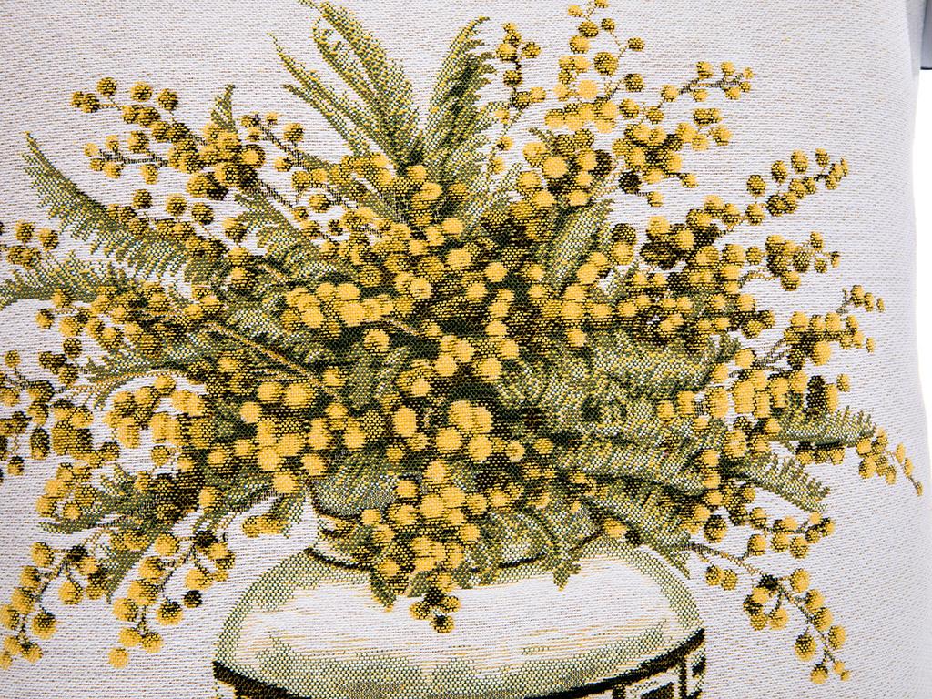 Mimosa Goblen Kırlent 45x45 Cm Beyaz - Sarı