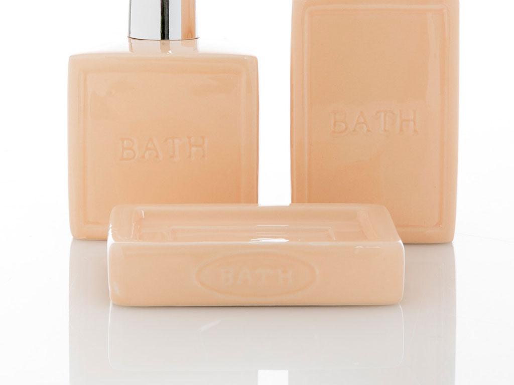 Elegant 3'lü Banyo Setı 8,2x8,2x13 Cm Somon