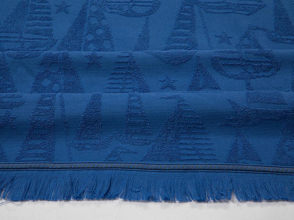 Ocean Blue Jakarlı Plaj Havlusu 80x150 Cm Lacivert