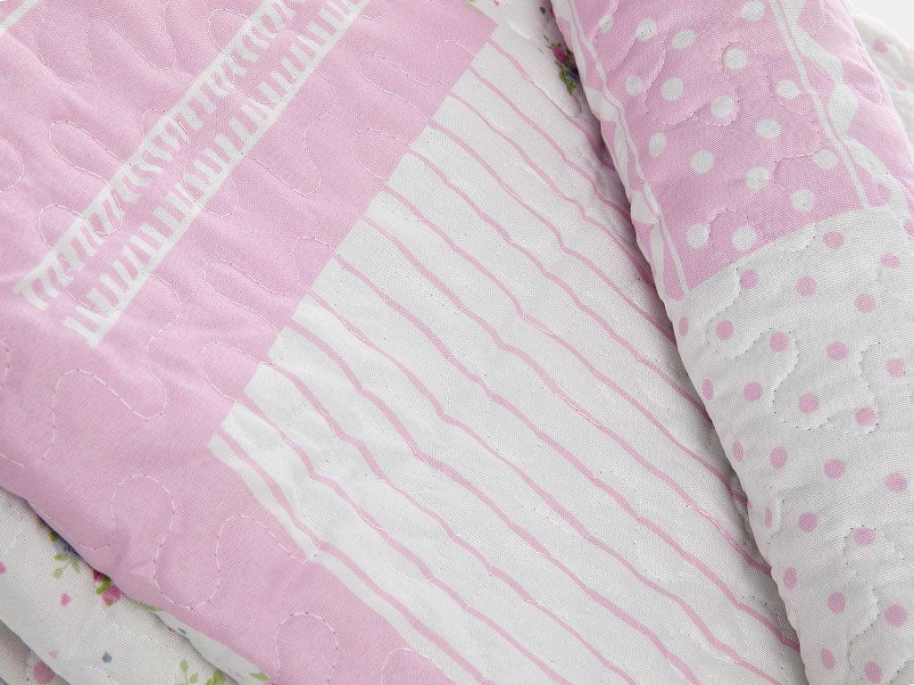 Rosy Life Patchwork Baskılı Tek Kişilik Yatak Örtüsü Takımı 160x240 Cm Pembe