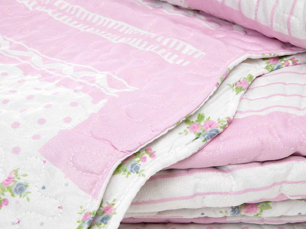 Rosy Life Patchwork Baskılı Çift Kişilik Yatak Örtüsü Takımı 240x260 Cm Pembe