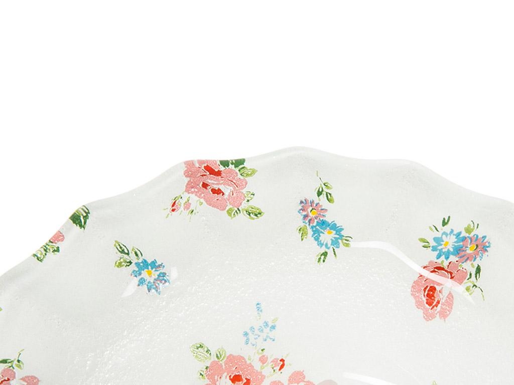Rosy Love Cam Tekli Çerezlık 13,5 Cm Beyaz