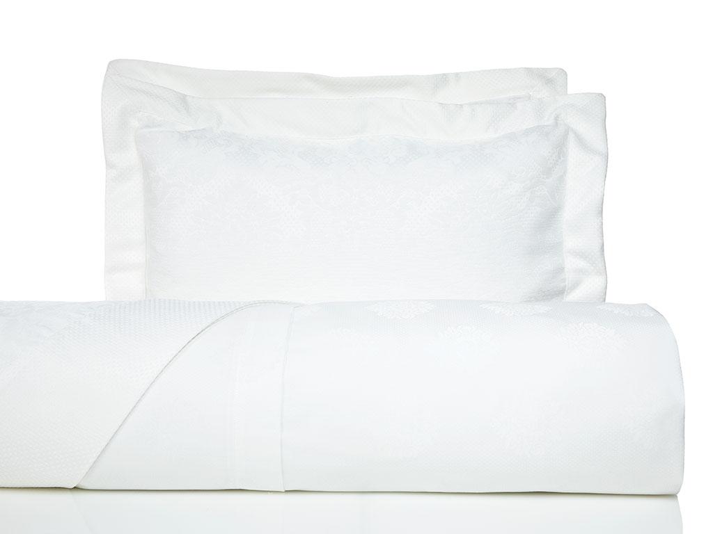 Damask Pamuk Saten Çift Kişilik Yatak Örtülü Nevresım Takımı 200x220 Cm Beyaz