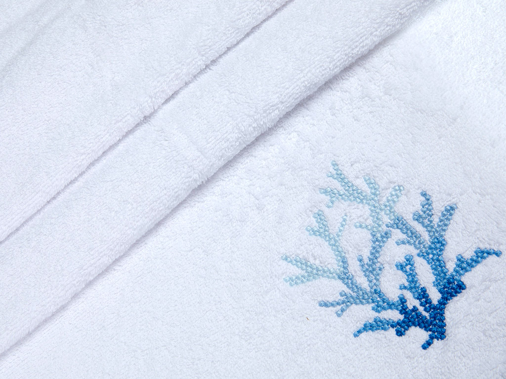 Coral Nakışlı Yüz Havlusu 50x80 Cm Beyaz - Mavi