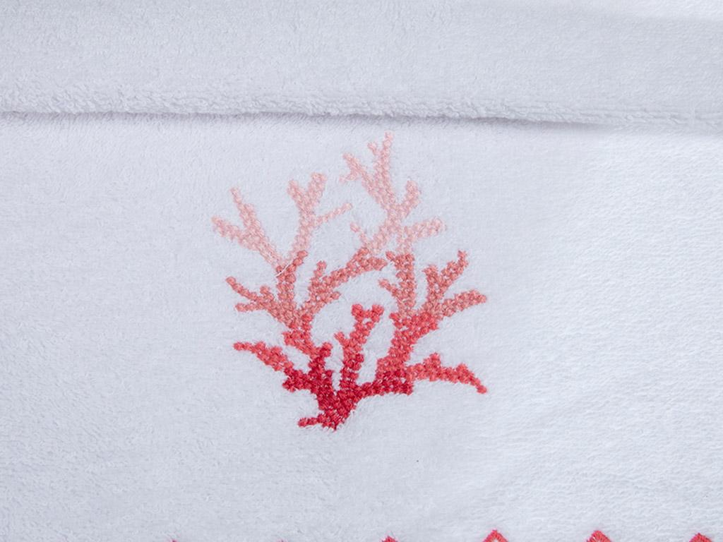 Coral Nakışlı Yüz Havlusu 50x80 Cm Beyaz-mercan