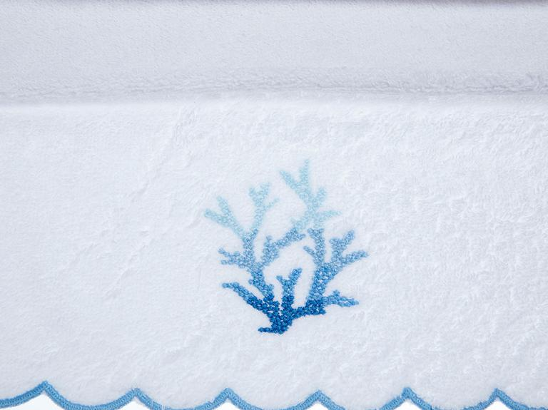Coral Nakışlı El Havlusu 30x45 Cm Beyaz - Mavi